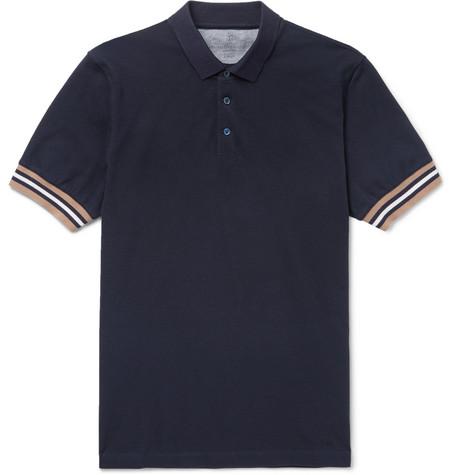 Brunello Cucinelli - Slim-Fit Contrast-Trimmed Cotton-Piqué Polo Shirt - Men - Midnight blue