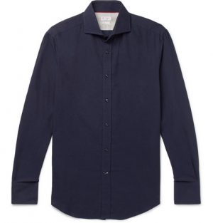 Brunello Cucinelli - Slim-Fit Cutaway-Collar Cotton-Twill Shirt - Men - Blue