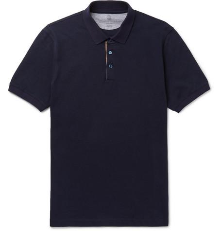 Brunello Cucinelli - Slim-Fit Grosgrain-Trimmed Cotton-Piqué Polo Shirt - Men - Navy