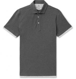 Brunello Cucinelli - Slim-Fit Jersey-Trimmed Cotton-Piqué Polo Shirt - Men - Gray