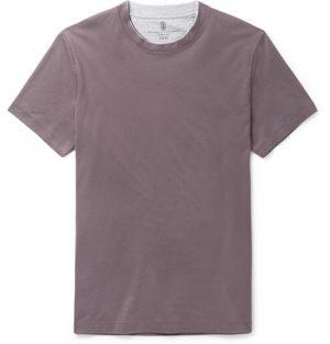 Brunello Cucinelli - Slim-Fit Layered Cotton-Jersey T-Shirt - Men - Lilac