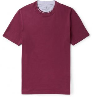 Brunello Cucinelli - Slim-Fit Layered Cotton-Jersey T-Shirt - Men - Plum