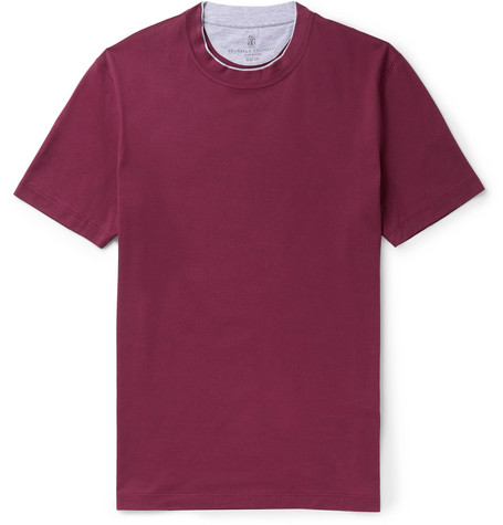 Brunello Cucinelli - Slim-Fit Layered Cotton-Jersey T-Shirt - Men - Plum