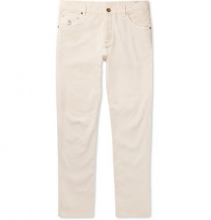 Brunello Cucinelli - Slim-Fit Stretch-Denim Jeans - Men - Cream