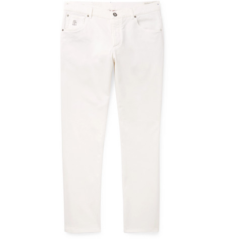 Brunello Cucinelli - Slim-Fit Stretch-Denim Jeans - Men - White
