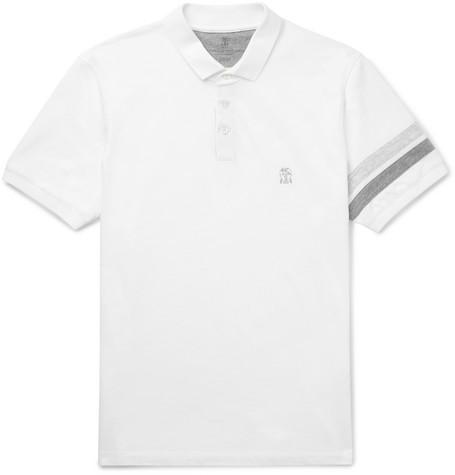 Brunello Cucinelli - Slim-Fit Striped Cotton-Piqué Polo Shirt - Men - White