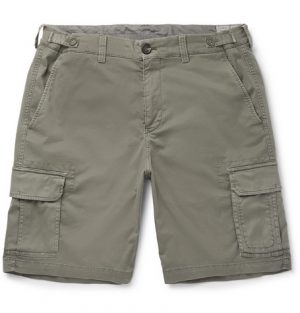 Brunello Cucinelli - Stretch-Cotton Cargo Shorts - Men - Sage green