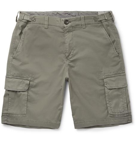 Brunello Cucinelli - Stretch-Cotton Cargo Shorts - Men - Sage green