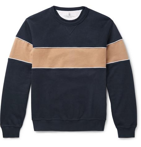 Brunello Cucinelli - Striped Cotton-Blend Jersey Sweatshirt - Men - Navy