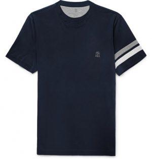 Brunello Cucinelli - Striped Cotton-Jersey T-Shirt - Men - Blue