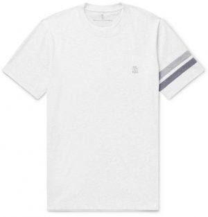 Brunello Cucinelli - Striped Mélange Cotton-Jersey T-Shirt - Men - White
