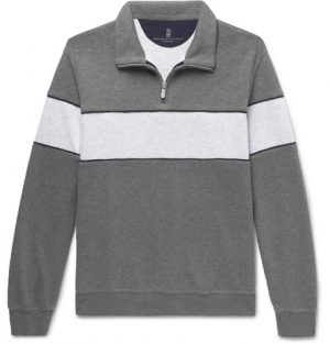Brunello Cucinelli - Two-Tone Mélange Jersey Half-Zip Sweatshirt - Men - Gray