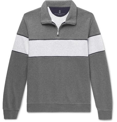 Brunello Cucinelli - Two-Tone Mélange Jersey Half-Zip Sweatshirt - Men - Gray