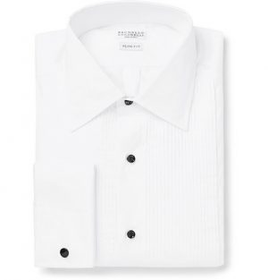 Brunello Cucinelli - White Slim-Fit Bib-Front Double-Cuff Cotton-Poplin Tuxedo Shirt - Men - White