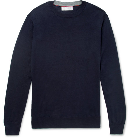 Brunello Cucinelli - Wool and Cashmere-Blend Sweater - Men - Navy