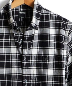 Button Down Flannel Shirt in Black and White Plaid