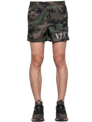 Camouflage Print Nylon Swim Shorts