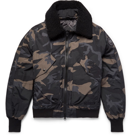 Canada Goose - Bromley Shearling-Trimmed Camouflage-Print Canvas Down Bomber Jacket - Men - Black