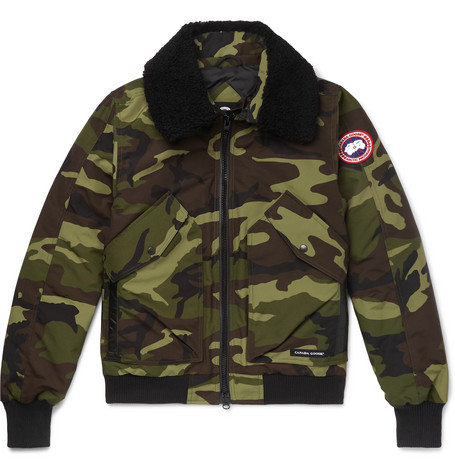 Canada Goose - Bromley Shearling-Trimmed Camouflage-Print Shell Down Bomber Jacket - Men - Army green