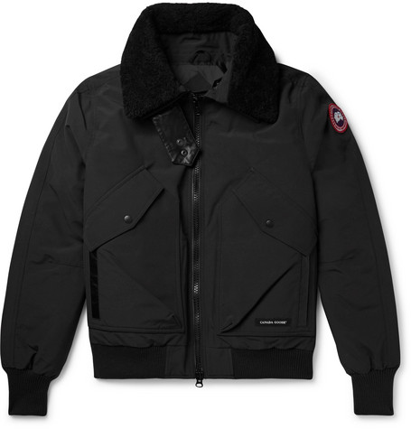 Canada Goose - Bromley Shearling-Trimmed Canvas Down Bomber Jacket - Men - Black