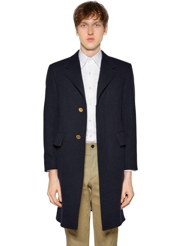 Chesterfield Wide Lapel Wool Felt Coat