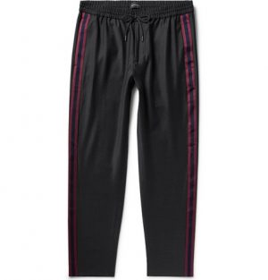Club Monaco - Black Tapered Webbing-Trimmed Wool-Blend Drawstring Trousers - Men - Black