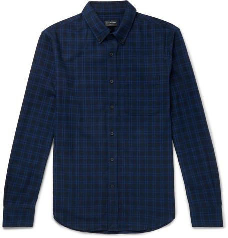 Club Monaco - Button-Down Collar Checked Brushed-Cotton Shirt - Men - Navy