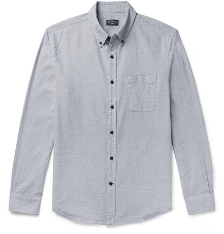 Club Monaco - Button-Down Collar Puppytooth Cotton-Flannel Shirt - Men - Charcoal