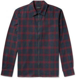 Club Monaco - Checked Cotton-Flannel Zip-Up Shirt Jacket - Men - Burgundy