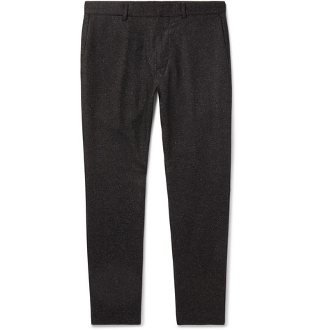 Club Monaco - Dark-Grey Tapered Wool-Blend Herringbone Trousers - Men - Charcoal