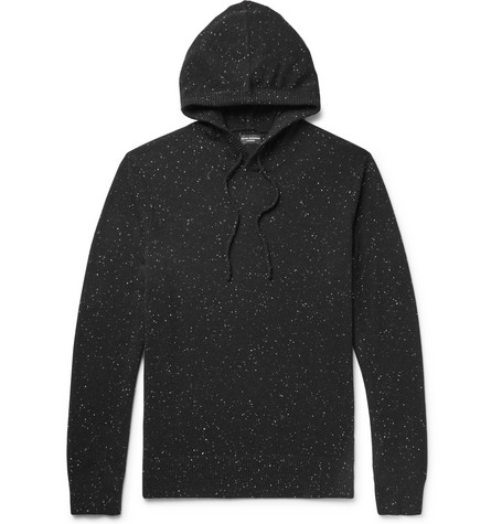 Club Monaco - Mélange Cashmere Hoodie - Men - Black