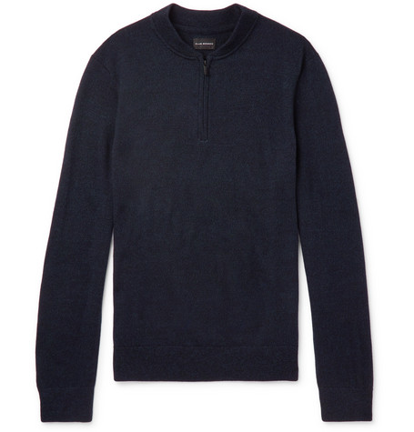 Club Monaco - Merino Wool Half-Zip Sweater - Men - Navy