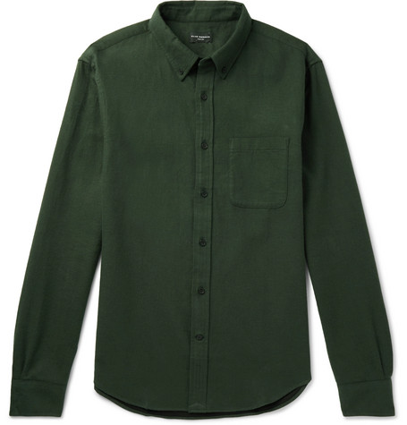Club Monaco - Slim-Fit Button-Down Collar Brushed Cotton-Twill Shirt - Men - Green