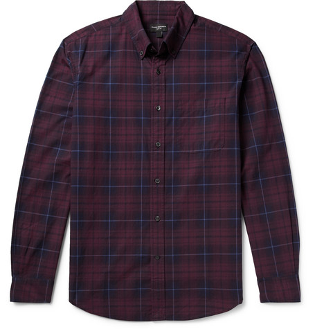 Club Monaco - Slim-Fit Button-Down Collar Checked Cotton-Poplin Shirt - Men - Burgundy