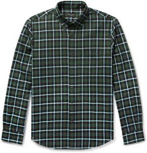 Club Monaco - Slim-Fit Button-Down Collar Checked Cotton Shirt - Men - Green