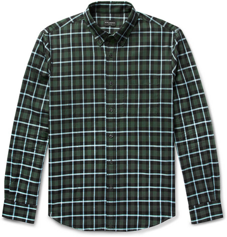 Club Monaco - Slim-Fit Button-Down Collar Checked Cotton Shirt - Men - Green