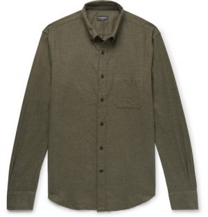 Club Monaco - Slim-Fit Button-Down Collar Cotton-Flannel Shirt - Men - Army green