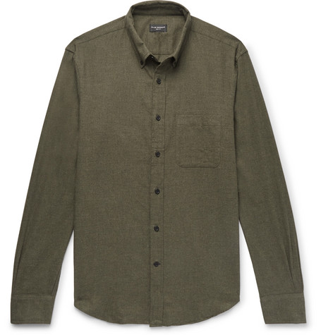 Club Monaco - Slim-Fit Button-Down Collar Cotton-Flannel Shirt - Men - Army green