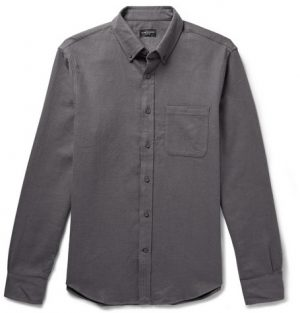 Club Monaco - Slim-Fit Button-Down Collar Double-Faced Cotton Shirt - Men - Dark gray