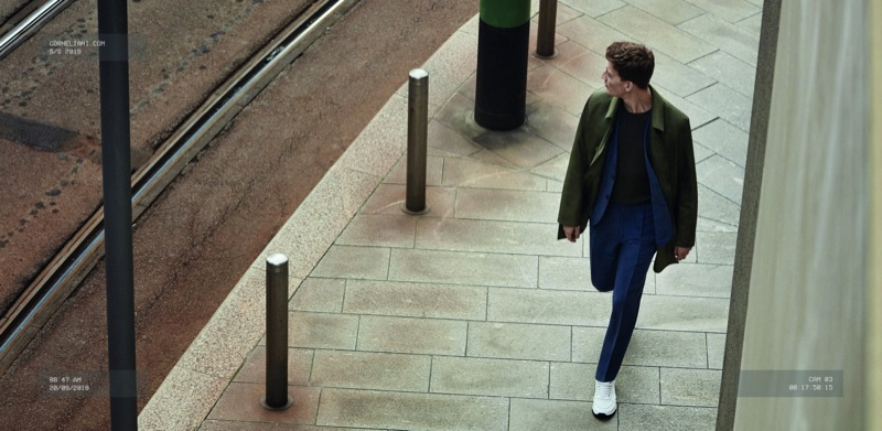 Under surveillance, Bastian Thiery appears in Corneliani's spring-summer 2019 campaign.