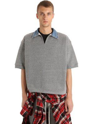 Cotton Blend Polo Shirt W/ Denim Collar