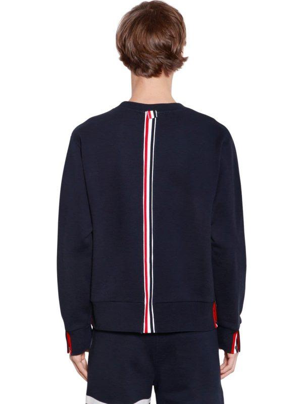 Cotton Jersey Sweatshirt W/ Knit Stripe
