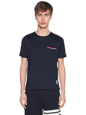 Cotton Jersey T-shirt W/ Striped Details