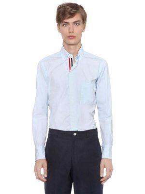 Cotton Poplin Shirt W/ Grosgrain Detail