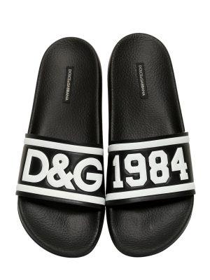 D & g Rubberized Leather Slide Sandals