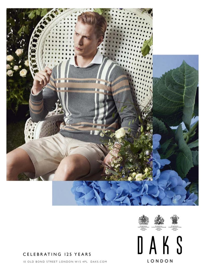 Embracing an English garden theme, Sven de Vries appears in Daks' spring-summer 2019 campaign.