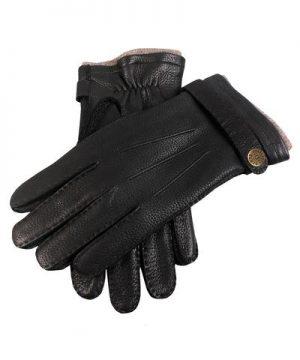 Dents Gloucester Cashmere Lined Deerskin Gloves in Black