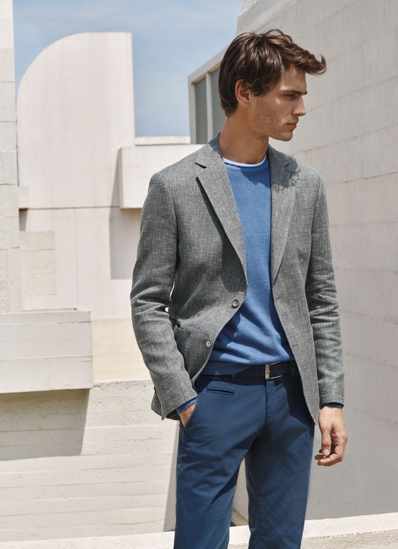 Showcasing smart style, Julien Sabaud wears a look from Digel's spring-summer 2019 collection.