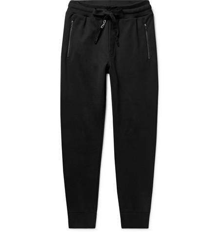 Dolce & Gabbana - Slim-Fit Tapered Logo-Embroidered Loopback Cotton-Jersey Sweatpants - Men - Black