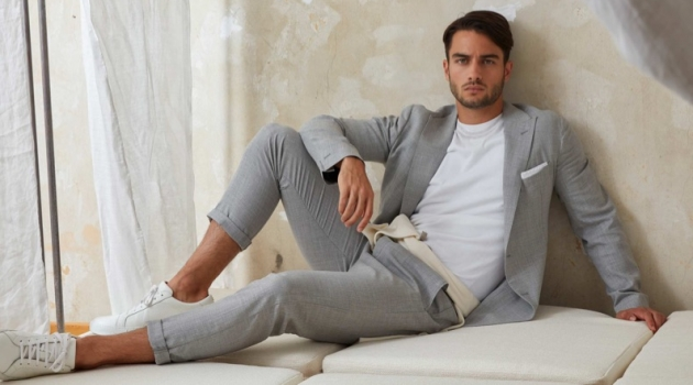 Aleksandar Rusić is a chic vision in a grey suit for Eleventy.